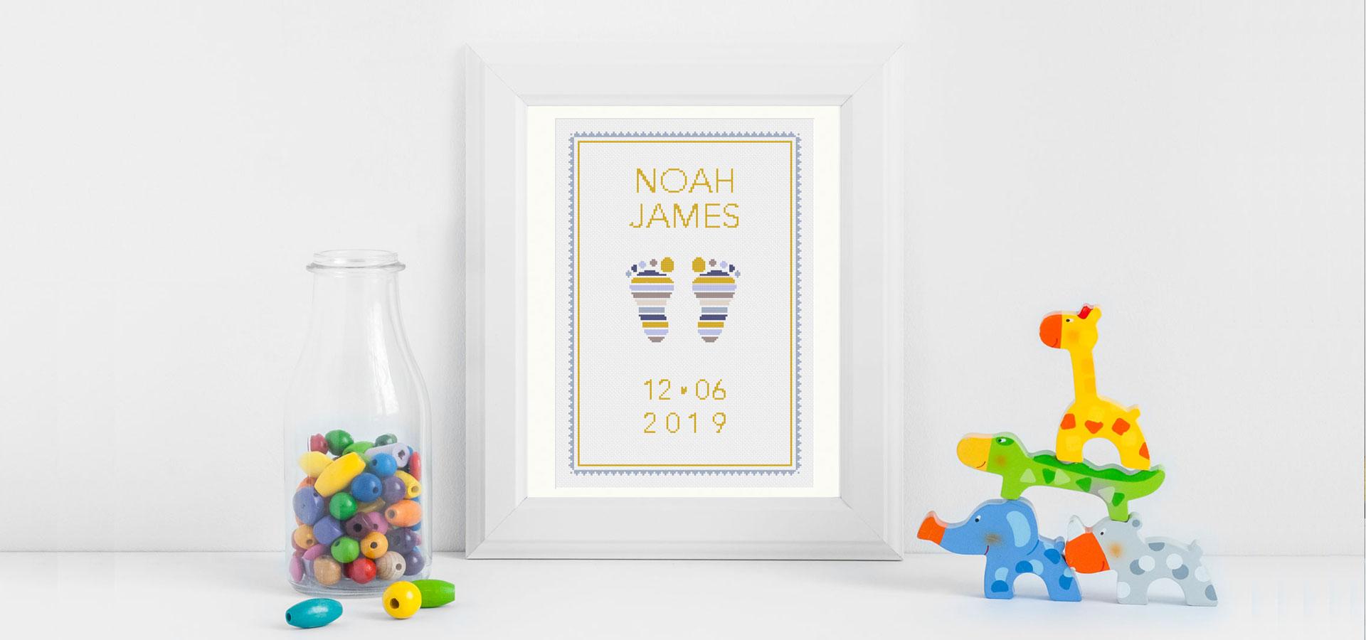 Baby Feet Cross Stitch Pattern showing nursery animals in a banner