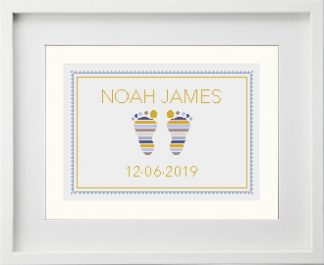 Baby Feet Ochre color palette customisable cross stitch pattern framed example