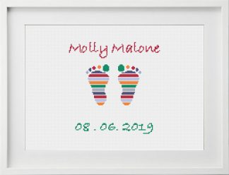 Customisable Baby Feet Modern Cross Stitch Pattern white frame