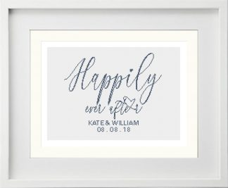 Happily Ever After - Customisable Modern Cross Stitch Pattern white frame