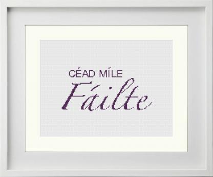Irish language meaning 'Welcome' modern framed cross stitch pattern