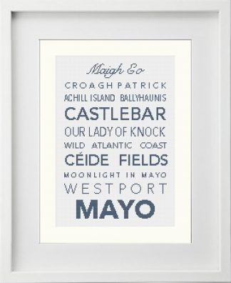 MAYO Irish Counties Cross-Stitch pattern presented in a white frame