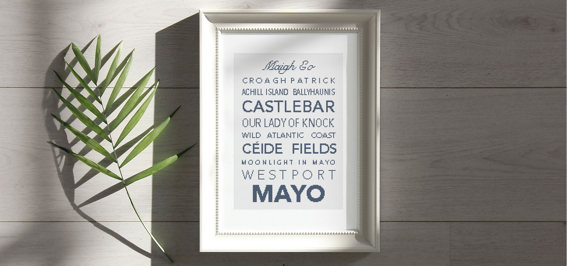 Mayo cross stitch pattern in a banner