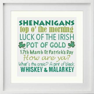 Shenanigans & Irish slang Traditional Cross-Stitch Pattern in white frame
