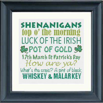 Shenanigans & Irish slang Traditional Cross-Stitch Pattern