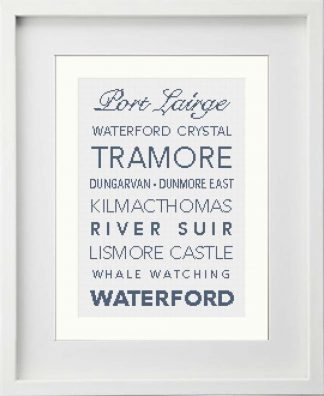 Waterford county cross stitch pattern framed in white