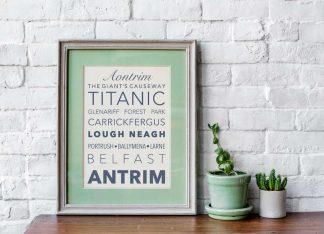 Antrim Irish County Printable framed in green