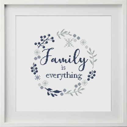 Family is Everything Cross Stitch Navy