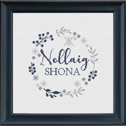 Nollaig Shona Wreath Cross Stitch Pattern Navy