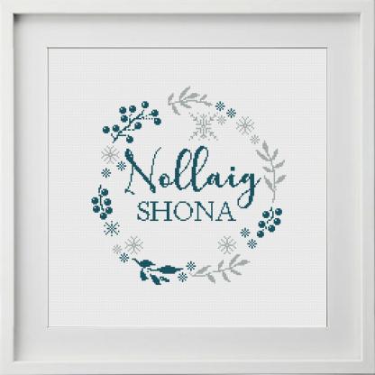 Nollaig Shona Wreath Cross Stitch Pattern Turquoise