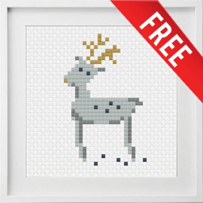 Free reindeer cross stitch pattern for Christmas