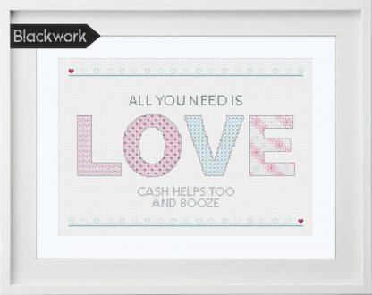 LOVE Blackwork Pattern